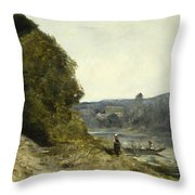 The Departure Of The Boatman Throw Pillow