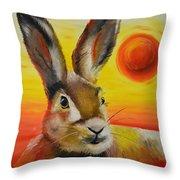 The Desert Hare Throw Pillow