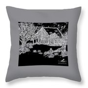 The Deserted Cabin At Night Throw Pillow