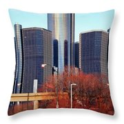 The Detroit Renaissance Center Throw Pillow by Gordon Dean II