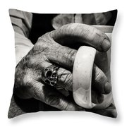 The Devil Drinks Coffee Throw Pillow