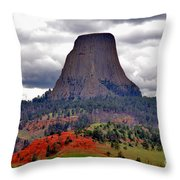 The Devils Tower Wy Throw Pillow by Susanne Van Hulst