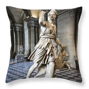 The Diana Of Versailles In The Louvre Throw Pillow