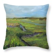 The Distant View Of The Marsh Throw Pillow