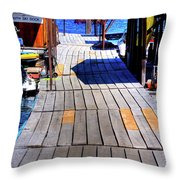 The Dock At Hill's Resort Throw Pillow