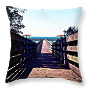 The Dock At Lake George  Throw Pillow