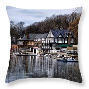 The Docks At Boathouse Row - Philadelphia Throw Pillow