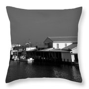 The Docks At Crisfield Md Throw Pillow
