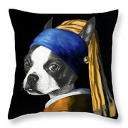 The Dog With A Pearl Earring Throw Pillow
