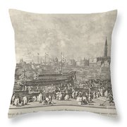The Doge In The Bucintoro Departing For The Porto Di Lido On Ascension Day Throw Pillow