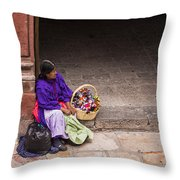 The Doll Peddler Throw Pillow