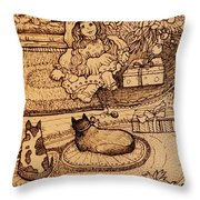 The Doll, The Kitties And The Gingerbread Boy Throw Pillow