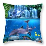 The Dolphin Family Throw Pillow