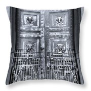 The Door At The Parthenon In Nashville Tennessee Black And White Throw Pillow