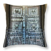The Door At The Parthenon In Nashville Tennessee Throw Pillow
