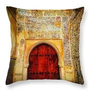 The Door To Alhambra Throw Pillow