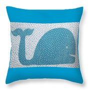 The Dotted Whale Throw Pillow by Deborah Boyd