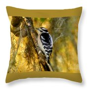 The Downy Woodpecker Throw Pillow