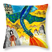 The Dragon Throw Pillow by Sushila Burgess