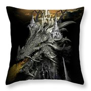 The Dragons Castle Throw Pillow