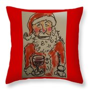 The Drunken Santa Throw Pillow