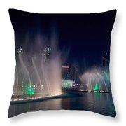 The Dubai Fountain At Burj Khalifa Throw Pillow
