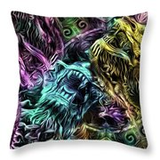 The Duel Of The Dragons  Throw Pillow