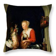 The Dutch Housewife Or The Woman Hanging A Cockerel In The Window 1650 Throw Pillow