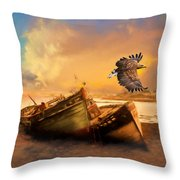 The Eagle And The Boat Throw Pillow
