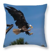 The Eagle Is Landing Throw Pillow