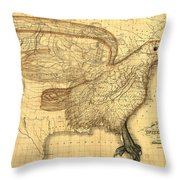 The Eagle Map Of The United States  Throw Pillow
