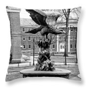 The Eagle - Widener University In Black And White Throw Pillow