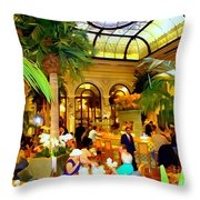 The Easter Holiday Tea At The Palm Court Throw Pillow