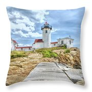 The Eastern Point Lighthouse In Gloucester Throw Pillow