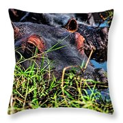 The Eating Machine Called A Hippo Throw Pillow