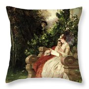 The Eavesdropper Throw Pillow by Carl Heinrich Hoff