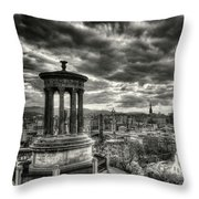 The Edinburgh Skyline, And Dugald Stewart Monument. Throw Pillow