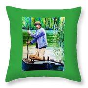 The Eel Catcher Throw Pillow