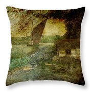 The Eel Fisher's Hut Throw Pillow