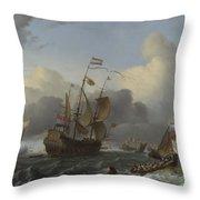 The Eendracht And A Fleet Of Dutch Men Of War Throw Pillow