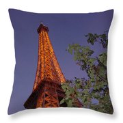The Eiffel Tower Aglow Throw Pillow