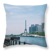 The Eiffel Tower And The Seine River Throw Pillow
