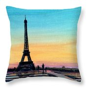 The Eiffel Tower At Sunset Throw Pillow
