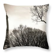 The Eiffel Tower In Backlighting. Paris. France. Europe. Throw Pillow