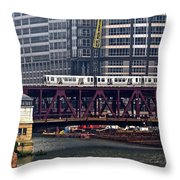 The El In Chicago Throw Pillow
