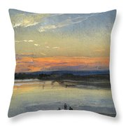 The Elbe In Evening Light Throw Pillow