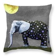 The Elephant And The Moon Throw Pillow