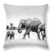 The Elephant Family Throw Pillow