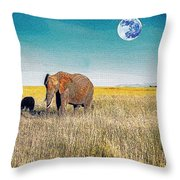 The Elephant Herd Throw Pillow