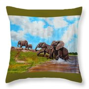 The Elephants Rise Throw Pillow